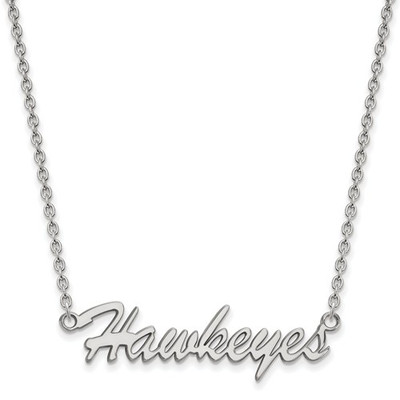 Iowa Hawkeyes Script Sterling Silver Necklace