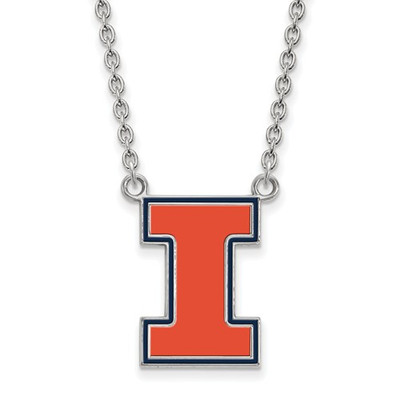 Illinois Fighting Illini I Orange Silver Necklace