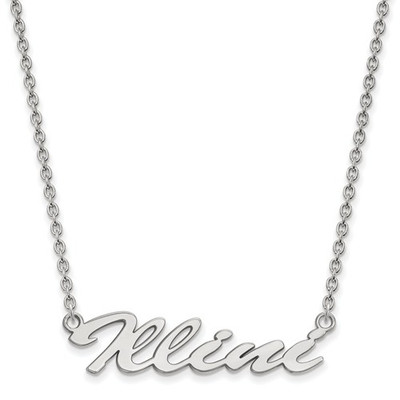 Illinois Fighting Illini Script Sterling Silver Necklace