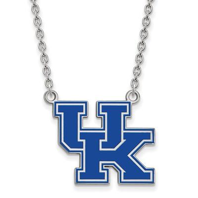 Kentucky UK Blue Logo Sterling Silver Necklace
