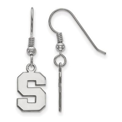 MSU Spartans S Logo Sterling Silver Dangle Earrings