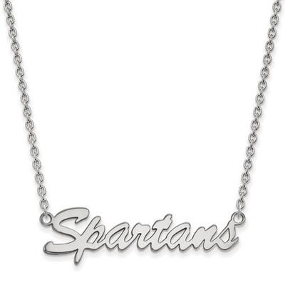 MSU Spartans Script Logo Sterling Silver Necklace