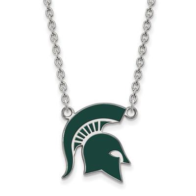 MSU Spartans Helmet Enamel and Silver Necklace