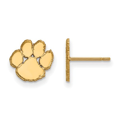 Clemson Tigers 14K Gold Tiger Paw Post Earrings
