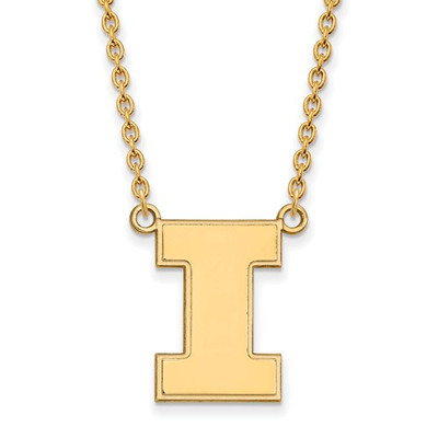 Illinois Fighting Illini I Logo 14K Gold Pendant Necklace