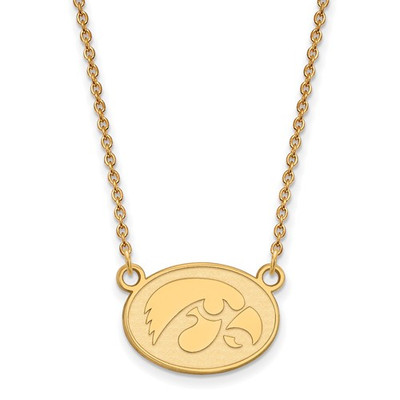 Iowa Hawkeyes 14K Gold Oval Pendant Necklace