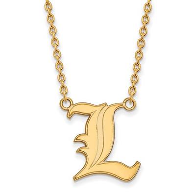Louisville Cardinals L Logo 14K Gold Pendant Necklace