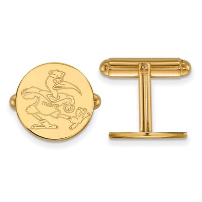 Miami Hurricanes Mascot 14K Gold Cufflinks