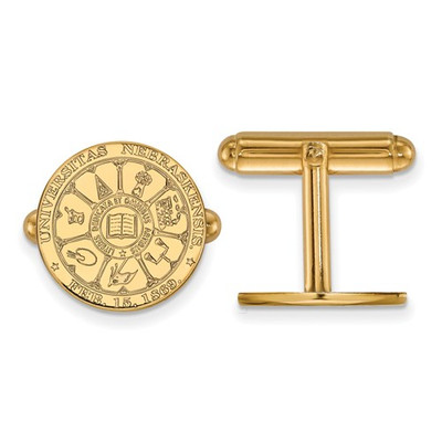 Nebraska Crest Huskers 14K Gold Cufflinks