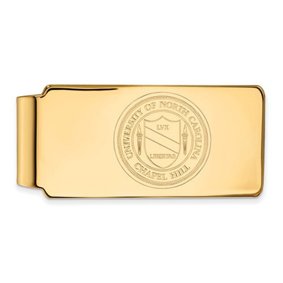 UNC School Crest Tarheels 14K Gold Money Clip