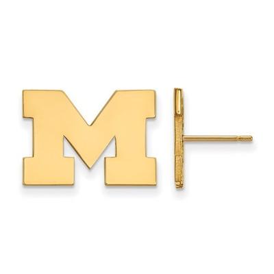 Michigan Wolverines 14K Gold Post Earrings