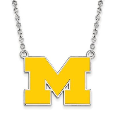 Michigan Wolverines Enamel and Silver Necklace