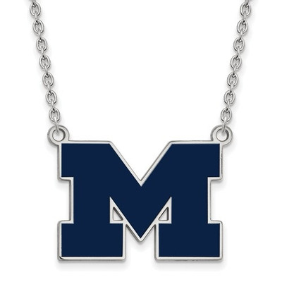 Michigan Wolverines Blue Enamel and Silver Necklace