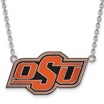 Oklahoma State Cowboys Enamel Sterling Silver Necklace