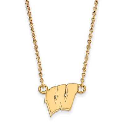 Wisconsin Badgers 14K W Logo Gold Necklace