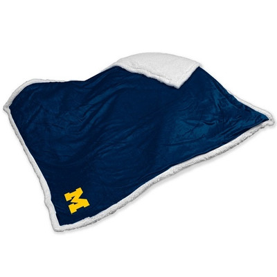 Michigan Wolverines Embroidered Sherpa Throw Blanket