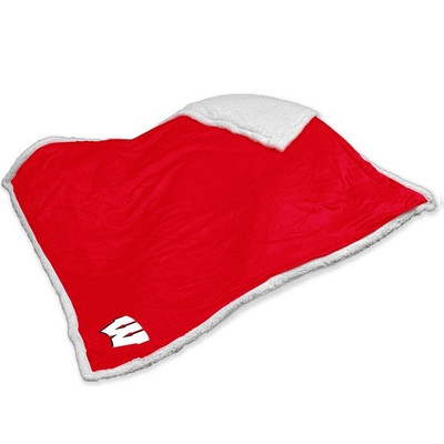 Wisconsin Badgers Embroidered Sherpa Throw Blanket