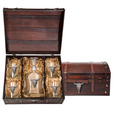 Longhorn Decanter Chest Set