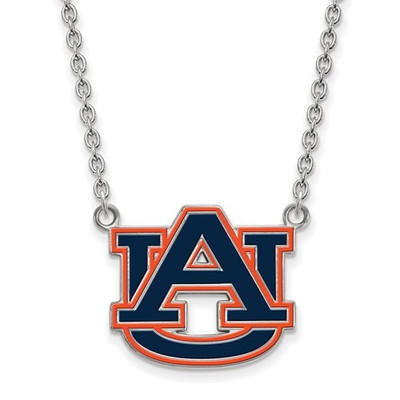 Auburn Tigers Sterling Silver Large Enamel Pendant Necklace