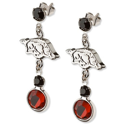 Arkansas Razorbacks Tide Crystal Logo Earrings