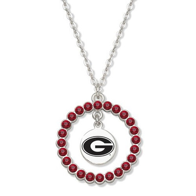 Georgia Bulldogs Spirit Crystal Logo Wreath Necklace