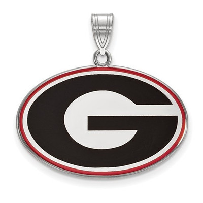 Georgia Bulldogs Sterling Silver Enamel Pendant