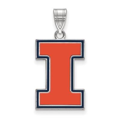 Illinois Fighting Illini I Sterling Silver Enamel Pendant | Logo Art | SS032UIL