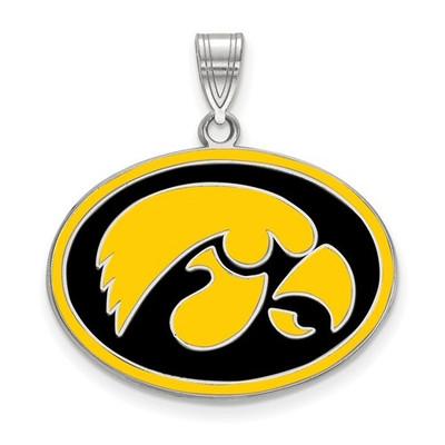 Iowa Hawkeyes Sterling Silver Enamel Pendant