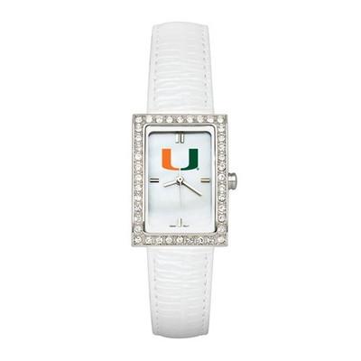 Miami Hurricanes Women's Allure White Leather Strap Watch