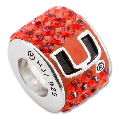 Miami Hurricanes Sterling Silver Bracelet Bead Charm