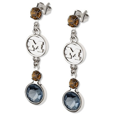 Michigan Wolverines Crystal Logo Earrings