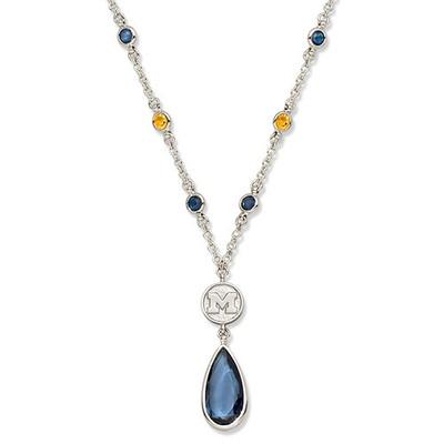 Michigan Wolverines Crystal Logo Necklace