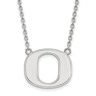 Oregon Ducks Logo Sterling Silver Pendant Necklace