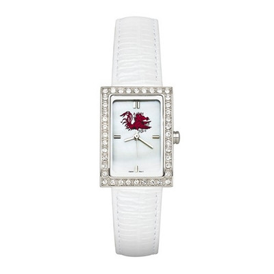 South Carolina Gamecocks Women's Allure White Leather Strap Watch