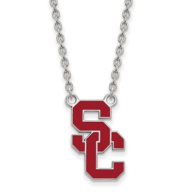 USC Trojans Sterling Silver Enamel Pendant Necklace