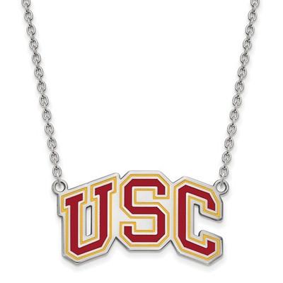 USC Trojans Sterling Silver Enamel USC Pendant Necklace