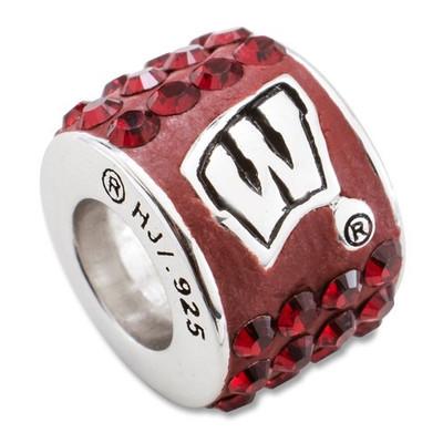 Wisconsin Badgers Logo Sterling Silver Bracelet Bead Charm