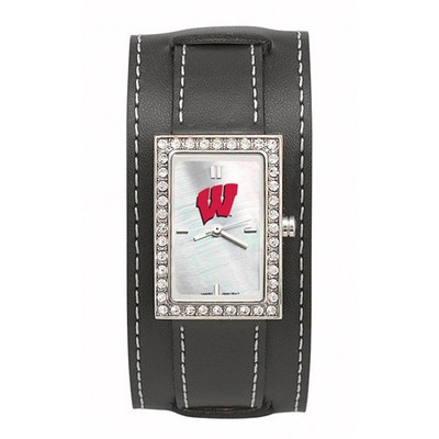 Wisconsin Badgers Women's Starlette Black Wide Band Watch