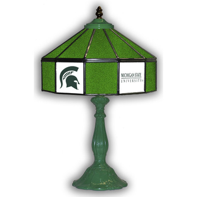 MSU Spartans 21 in Glass Table Lamp