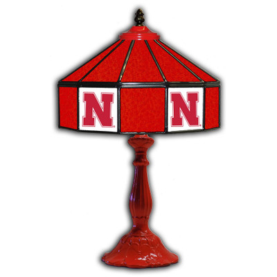 Nebraska Huskers 21 in Glass Table Lamp