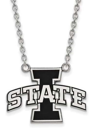 Iowa State Cyclones Sterling Silver Large Enamel Pendant Necklace