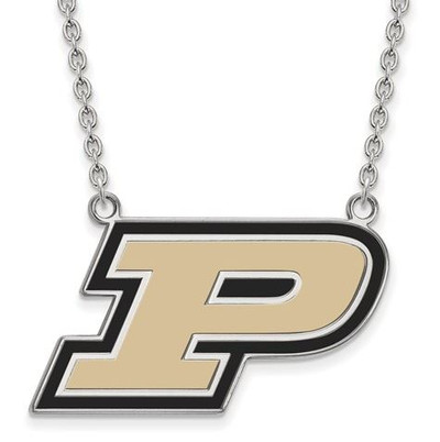 Purdue Boilermakers Sterling Silver Large Enamel Pendant Necklace