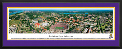 LSU Tigers Panoramic Photo Deluxe Matted Frame - Aerial View