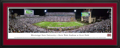 Mississippi St. Bulldogs Panoramic Photo Deluxe Matted Frame - 50 Yard Line