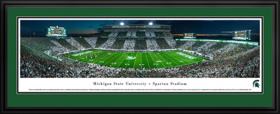 Michigan State Spartans Panoramic Photo Deluxe Matted Frame - 50 Yard Line