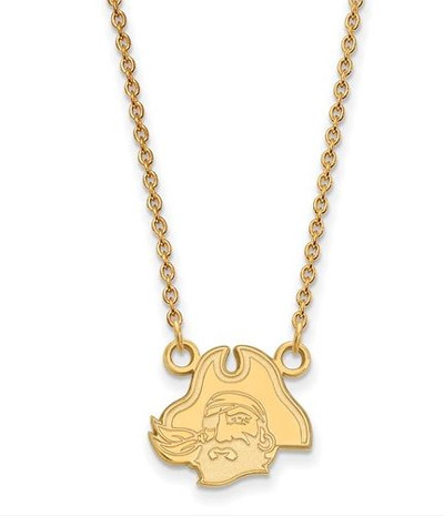 East Carolina Pirates Sterling Silver Gold Plated Sm Pendant Necklace