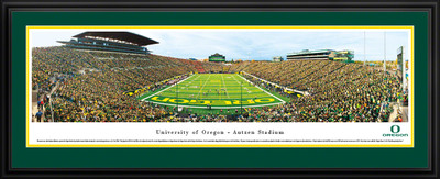 Oregon Ducks Panoramic Photo Deluxe Matted Frame - End Zone