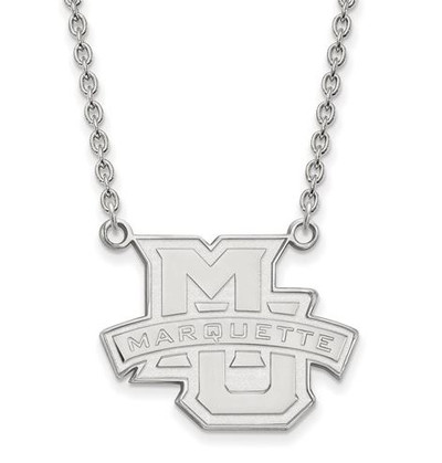 Marquette University 10k White Gold Large Pendant Necklace