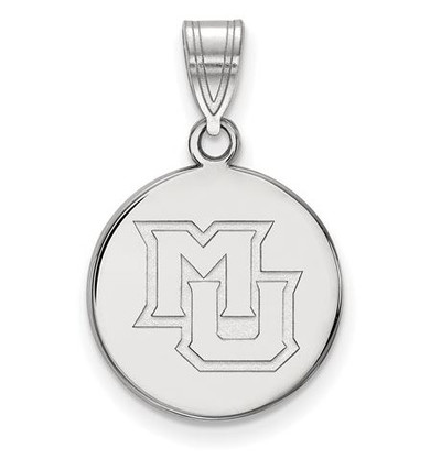 Marquette University 14k White Gold Medium Disc Pendant