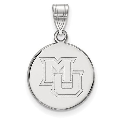 Marquette University 10k White Gold Medium Disc Pendant